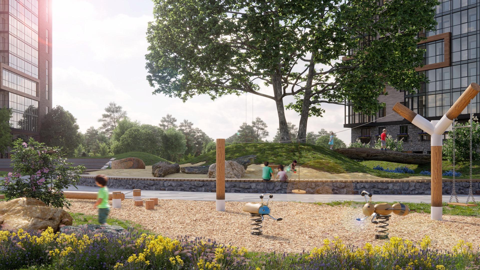 Для взрослых в SCANDIS есть мини-зоны отдыха, где можно полюбоваться арт-скульптурой, сложенной из камней, расположиться под деревом не только на скамейке, но и прямо на настоящей диковинной коряжине. В Scandis энергия жизни царит прямо у вас во дворе.